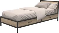 Односпальная кровать Millwood Лофт КМ-3.1/1 Л 207x97x81 (дуб золотой Craft/металл черный) -