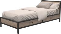 Односпальная кровать Millwood Лофт КМ-3.1/1 Л 207x97x81 (дуб табачный Craft/металл черный) -