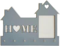 Ключница настенная Grifeldecor Home с рамкой для фотографии / BZ202-4G417 (серый) -
