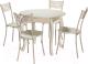 Обеденная группа Древпром Валенсия со стульями Эрго (жемчуг/антик жемчуг) -