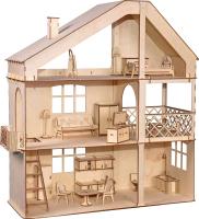 Кукольный домик ХэппиДом Гранд коттедж с верандой и мебелью / HK-D008 -