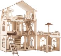 Кукольный домик ХэппиДом Коттедж с пристройкой и мебелью Premium / HK-D011 -