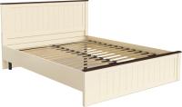 Двуспальная кровать Олмеко Прованс37.24-02 (бежевый/дуб кальяри/Masa Decor слоновая кость) -