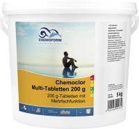 Средство для бассейна дезинфицирующее Chemoform Всё-в-одном мульти-таблетки по 200гр (5кг) -