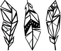 Декор настенный Arthata Три пера 100x70-B / 065-3 (черный) -
