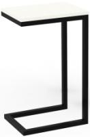 Приставной столик ТитанМетаБел Роксет (белый альпийский/черный матовый) -