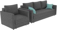 Комплект мягкой мебели Divanta Эдем 7 11-1 (диван, кресло, декор подушки) -