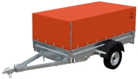 Прицеп для автомобиля Экспедиция Бизнес 111500 Евро (R13, 2500x1250x300, тент/каркас 500-600, оранжевый) -