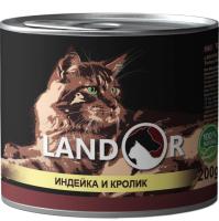 Корм для кошек Landor Для взрослых кошек индейка с кроликом / 4250039 (200г) -