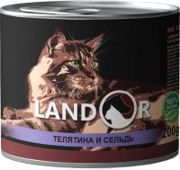 Корм для кошек Landor Для пожилых кошек телятина с сельдью / 4250046 (200г) -