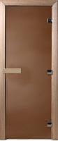 Стеклянная дверь для бани/сауны Doorwood Теплая ночь 210x70 (бронза матовая, коробка листва) -