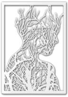 Декор настенный Arthata Девушка 25x50-V / 091-1 (белый) -