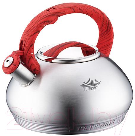 Купить Чайник со свистком Peterhof, PH-15636 (красный), Китай, нержавеющая сталь