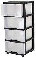 Комод пластиковый Curver Drawer System 4X20L / 214756 (прозрачный/черный) -