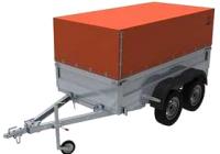 Прицеп для автомобиля Экспедиция Бизнес 121500 Евро (2500х1250х300, тент/каркас 500-1300, R13, двухосный, оранжевый) -