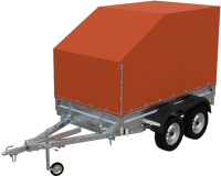 Прицеп для автомобиля Экспедиция Бизнес 121725 Евро (2500х1350х300, тент/каркас 725-1300, R13, двухосный, оранжевый) -