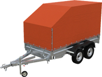 Прицеп для автомобиля Экспедиция Бизнес 121730 Евро (3000x1350x300, тент/каркас 730-1300, R13, двухосный, оранжевый) -