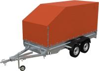Прицеп для автомобиля Экспедиция 121734 Евро (3400x1350x300, тент/каркас 734-1300, R13, двухосный, оранжевый) -