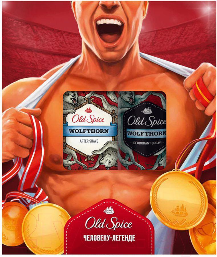 Купить Набор косметики для лица и тела Old Spice, Wolfthorn дезодорант-спрей 150мл + лосьон после бритья 100мл, Польша