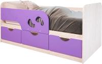Кровать-тахта детская BTS Минима Лего 160 (дуб атланта/лиловый сад) -