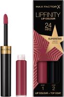 Набор декоративной косметики Max Factor Lipfinity Помада Lip Colour+Блеск Moisturising Top Coat тон 086 -