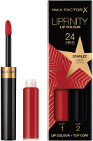 Набор декоративной косметики Max Factor Lipfinity Помада Lip Colour+Блеск Moisturising Top Coat тон 088 -
