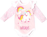 Боди для младенцев Amarobaby Rainbow / AMARO-ODRB2-74 (розовый, р. 74) -