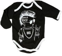 Боди для младенцев Amarobaby Rock Baby / AMARO-ODR201-56 (черный, р. 56) -
