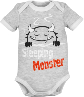 Боди для младенцев Amarobaby Monsters / AMARO-ODM1-S0-80 (серый, р. 80) -