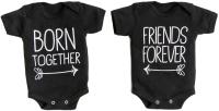 Набор боди для младенцев Amarobaby Twins / AMARO-ODTW1-Bl0-62 (черный, р. 62) -