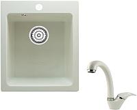 Мойка кухонная Berge BR-4200 + смеситель GR-4003 (белый/арктик) -