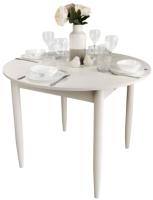 Обеденный стол Рамзес Раздвижной круглый ЛДСП 94-124x94 (лофт белый/ноги конусные белые) -