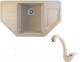 Мойка кухонная Berge BR-8050 + смеситель GR-4003 (бежевый/пирит) -