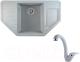 Мойка кухонная Berge BR-8050 + смеситель GR-4003 (серый/базальт) -