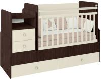 Детская кровать-трансформер Фея 1414 (венге/бежевый) -