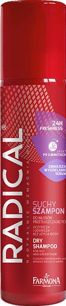 Купить Сухой шампунь для волос Farmona, Radical Экстра Свежесть для жирных волос (180мл), Польша, белый (универсальный)