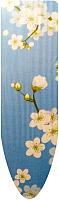 Чехол для гладильной доски Ника Ч2 (белые цветы на голубом фоне) -