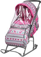 Санки-коляска Ника Умка 3 У3/3 (вязаный, розовый) -