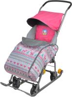 Санки-коляска Ника Тимка 1 Универсал / Т1У (малиновый/розовый/коралловый) -