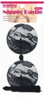 Набор пэстисов LoveToy Reusable Black Lace Round Tassel Nipple Pasties / LV763012 -