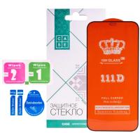 Защитное стекло для телефона Case 111D для iPhone 12 Pro Max (черный глянец) -