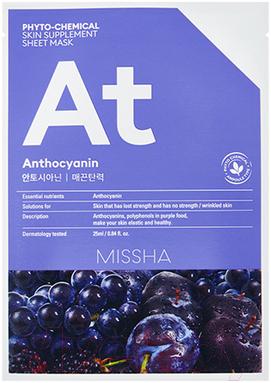 Маска для лица тканевая Missha, Phyto-Chemical Skin Supplement Sheet Mask Anthocyanin Lifting (25мл), Южная корея, Phytochemical (Missha)  - купить со скидкой