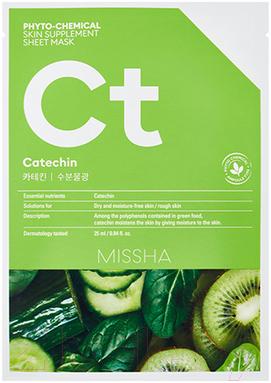 Купить Маска для лица тканевая Missha, Phyto-Chemical Skin Supplement Catechin Hydrating для сухой кожи (25мл), Южная корея, Phytochemical (Missha)
