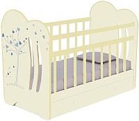 Детская кроватка VDK Wind Tree с маятником и ящиком (слоновая кость) -