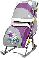 Санки-коляска Ника Детям 6 / НД6 (котенок, баклажановый/серый) -