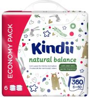 Влажные салфетки детские Kindii Natural Balance (6x60шт) -