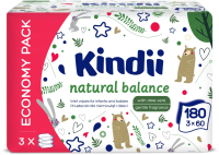 Влажные салфетки детские Kindii Natural Balance (3x60шт) -