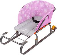 Сиденье для санок Ника СС2-1 (со снежинками розовый) -