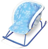 Сиденье для санок Ника Меховое / СС2-2 (со снежинками голубой) -