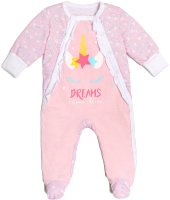 Комбинезон для младенцев Amarobaby Rainbow / AMARO-ODRB3-62 (розовый, р. 62) -